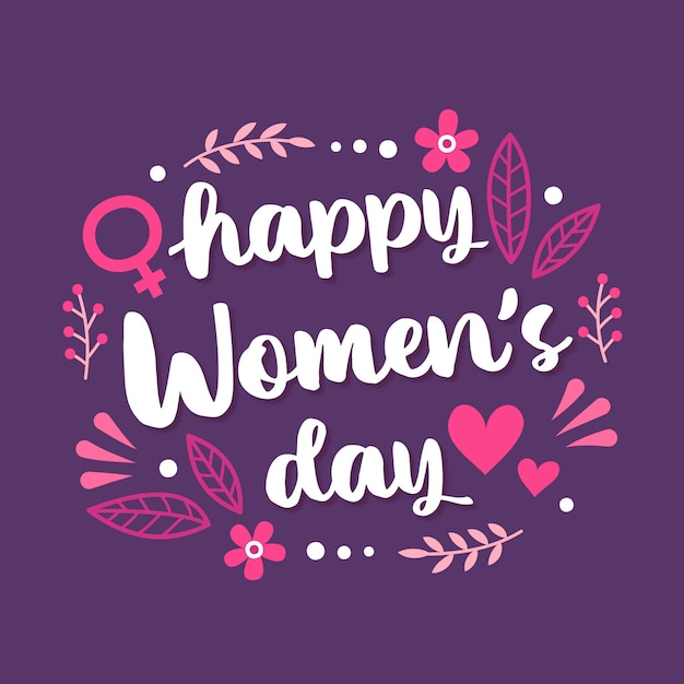 Floral happy women's day lettering Free Vector