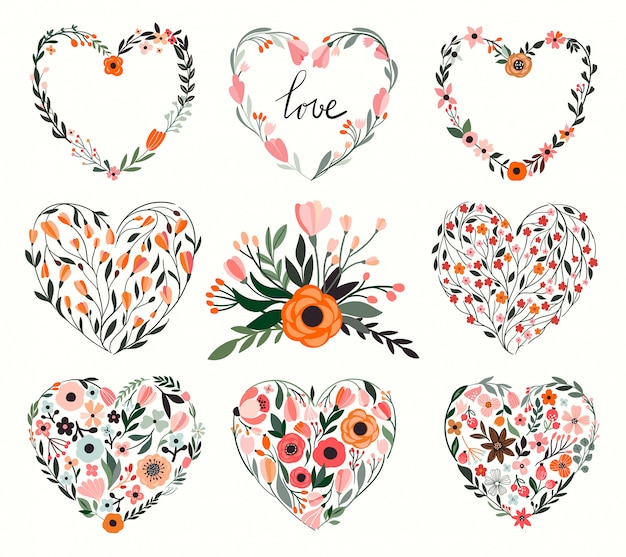 Floral hearts collection Premium Vector