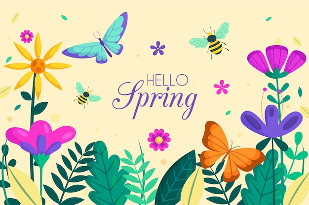 Floral hello spring background with insects Free Vector