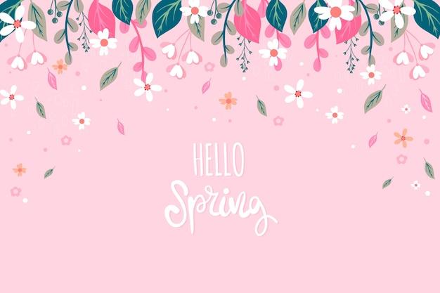 Цветочная привет весна концепция Бесплатные векторы
