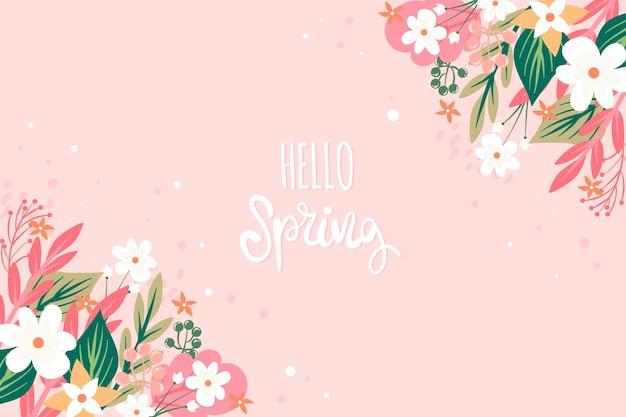 꽃 안녕하세요 봄 개념 프리미엄 벡터