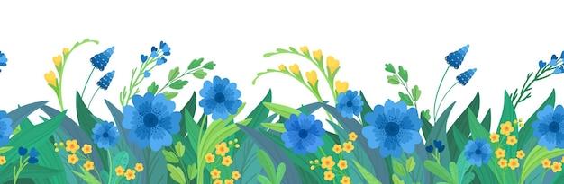 꽃 가로 배경입니다. 파란색과 노란색 야생화 테두리. 무료 벡터