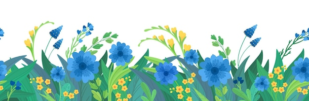 Floral horizontal background. blue and yellow wildflowers border. Free Vector