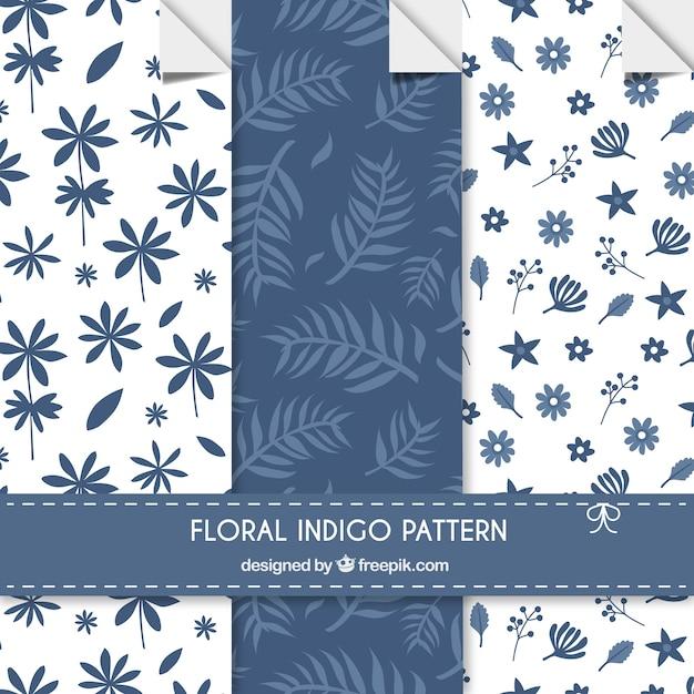 Floral indigo patterns Premium Vector