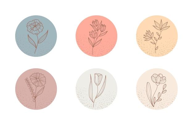 Floral instagram highlights for social media online websites Free Vector