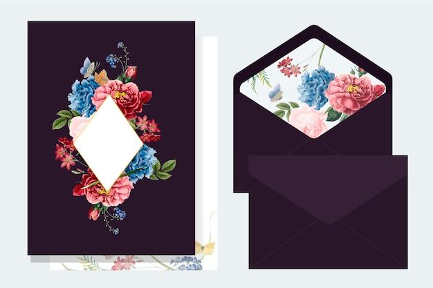 Floral Invitation Card Mockup Illustration Vector Free