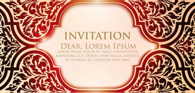 Floral invitation template with bright frame Free Vector