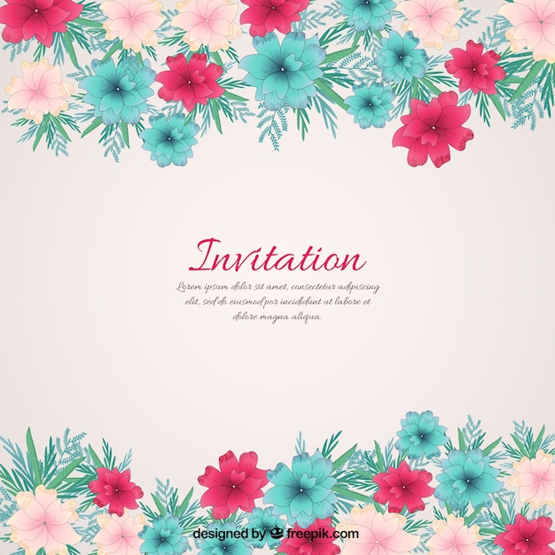 Floral invitation Vector | Free Download