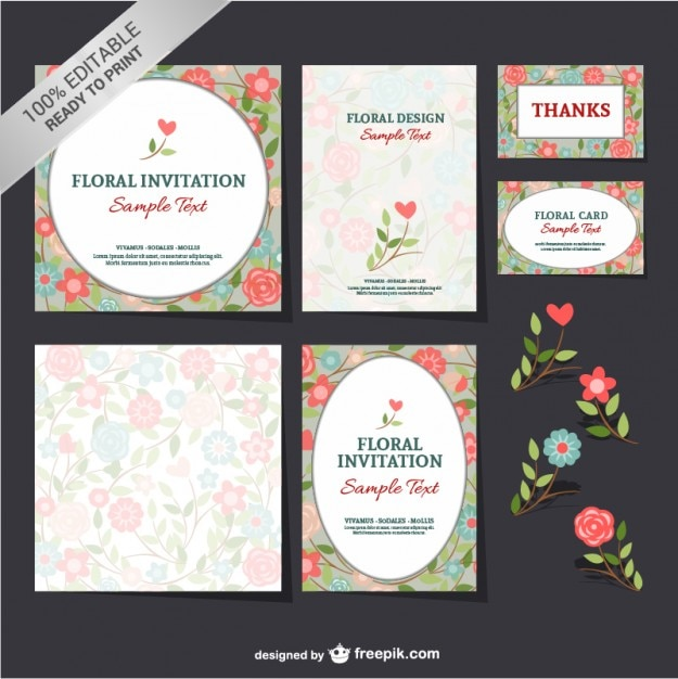 Floral Invitations And Thanking Cards Free Vector