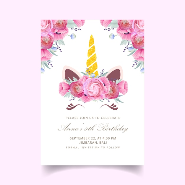 Floral Kids Birthday Invitation With Cute Unicorn Vector
