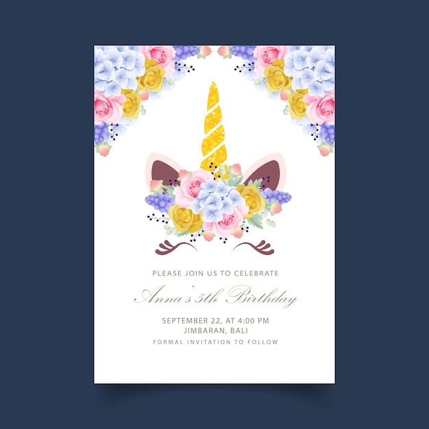 Floral kids birthday invitation with cute unicorn Premium Vector