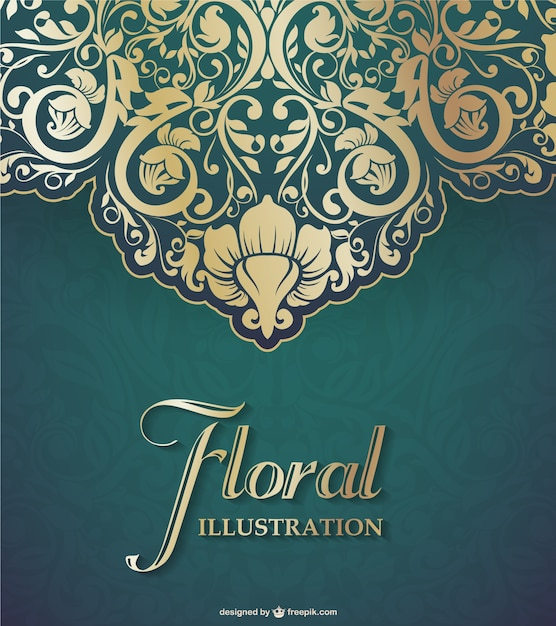 Floral lace background in golden and green tones Vector ...