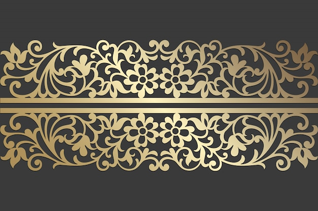 Floral lace laser cut panel design. ornate vintage vector border template for laser cutting, stained glass, glass etching, sandblasting, wood carving, cardmaking, wedding invitations. Premium Vector