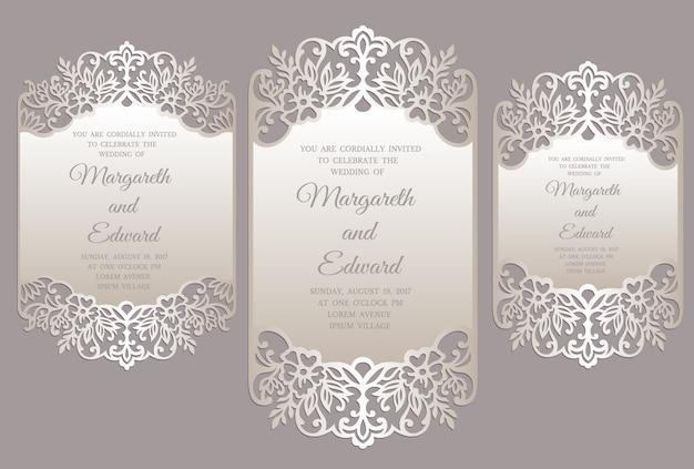 Premium Vector Floral Laser Cut Wedding Invitation Card Template Ornate Border Frame Design