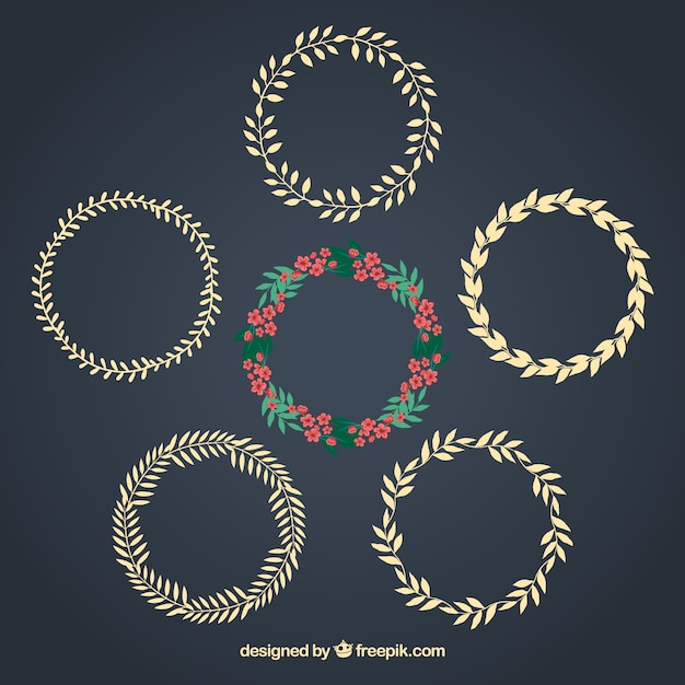 Floral and laurel wreaths Free Vector