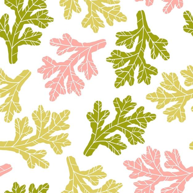 Цветочный листовой фон. Premium векторы