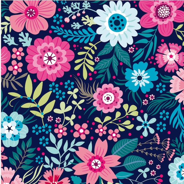 Floral leaves seamless pattern background vector template Premium Vector