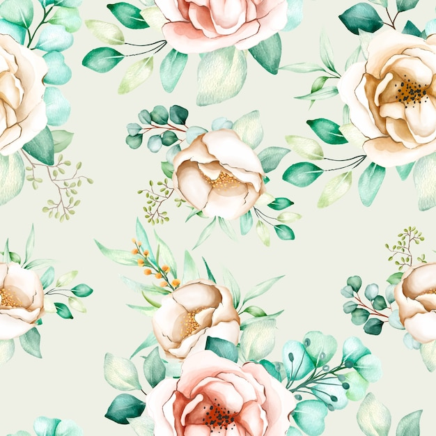 Floral and leaves seamless pattern Free Vector