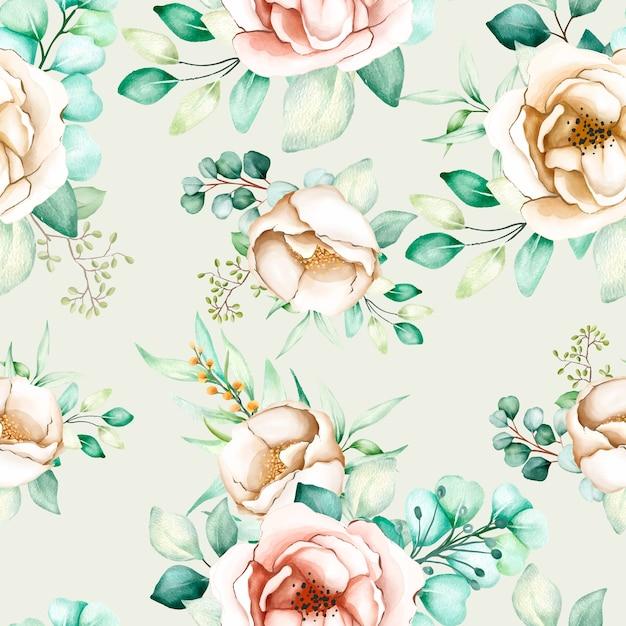Floreale e foglie senza cuciture Vettore gratuito