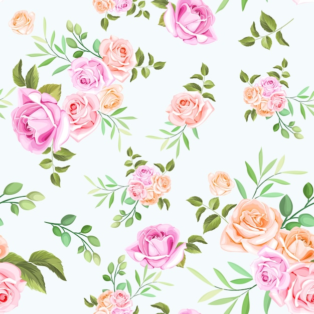 Floral and leaves seamless pattern Premium Vector
