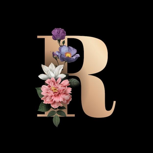 Floral letter rフォント 無料ベクター