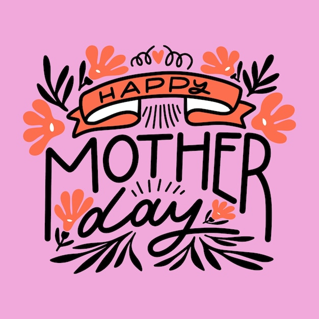 Floral lettering for mother's day Free Vector