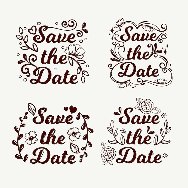Floral lettering with save the date wedding text Free Vector
