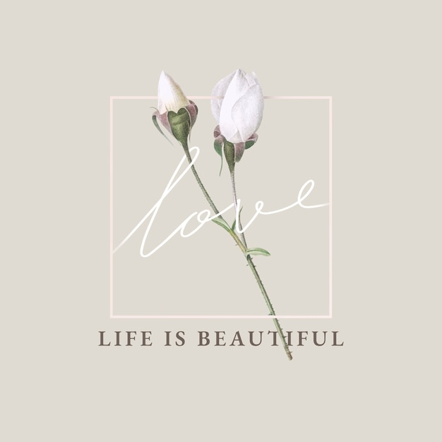 Floral life is beautiful card design Free Vector