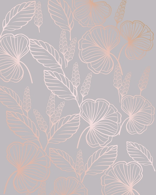 Floral line art seamless pattern with leaves shapes Premium Vector