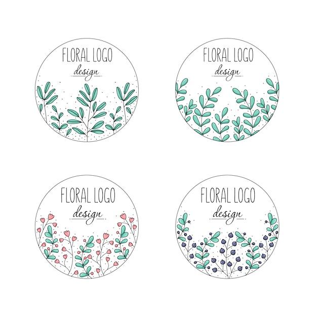 花のロゴコレクション Premiumベクター