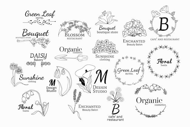 花のロゴデザインセット 無料ベクター