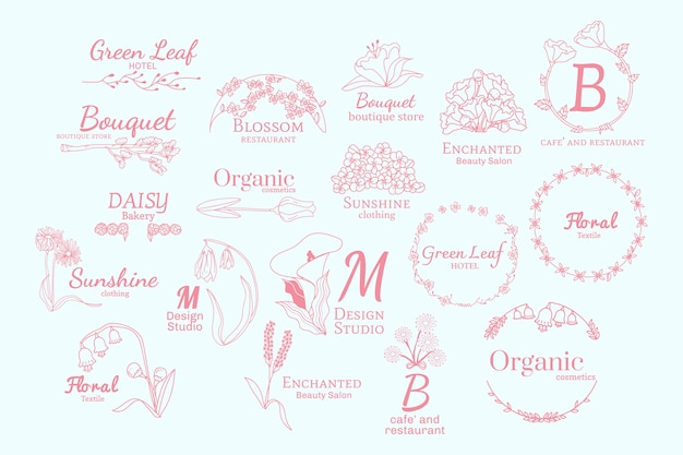 Floral logo designs set Free Vector