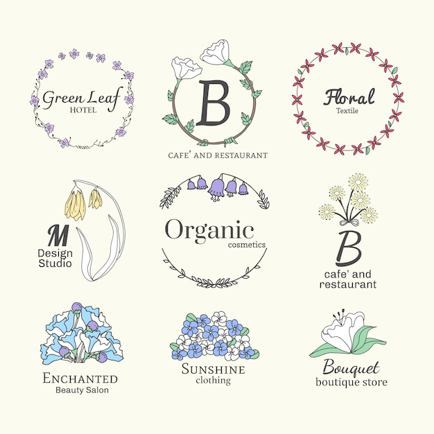 Floral logo designs set Free Vector