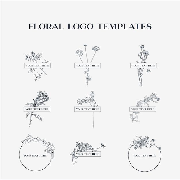 Floral logo templates Premium Vector