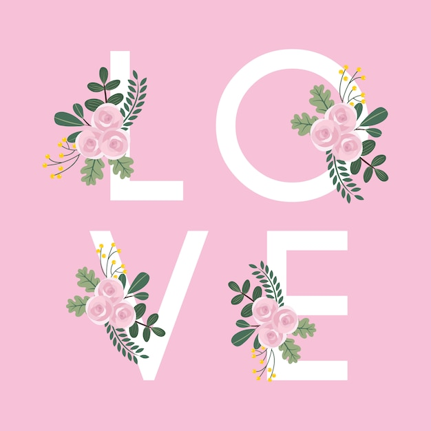 Floral love background Premium Vector