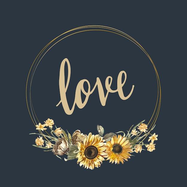 Floral love card mockup vector Free Vector