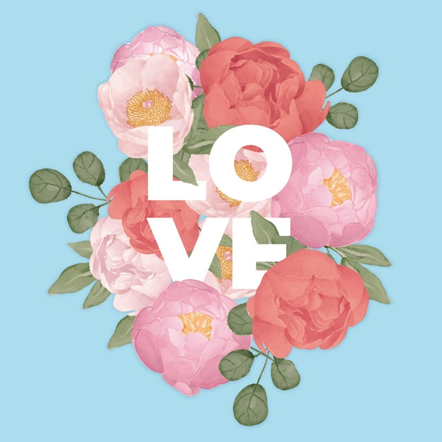 Floral love in watercolor Free Vector