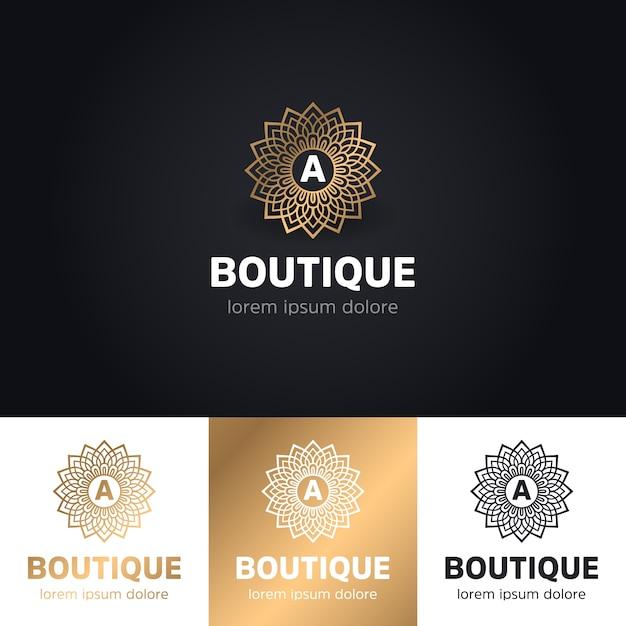 Golden Luxury Logotype Template: Floral Luxury Boutique Logo Vector