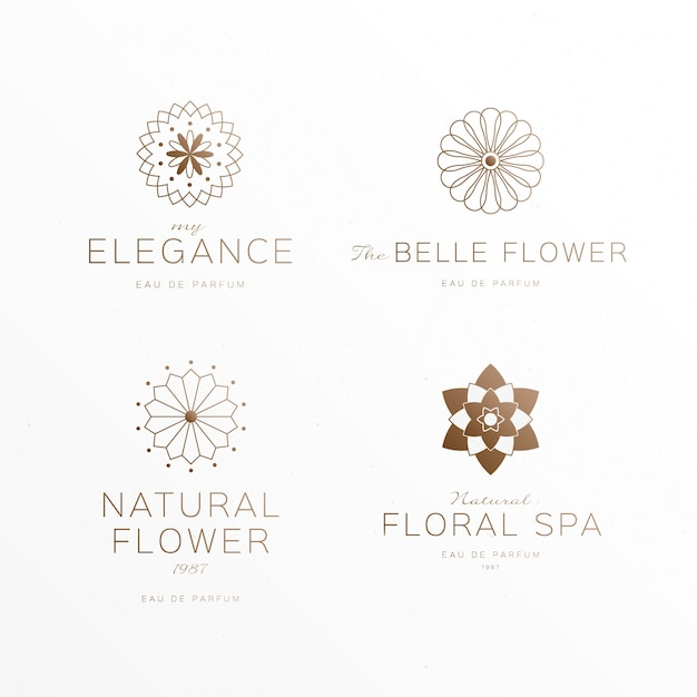 Floral luxury perfume logo collection Free Vector