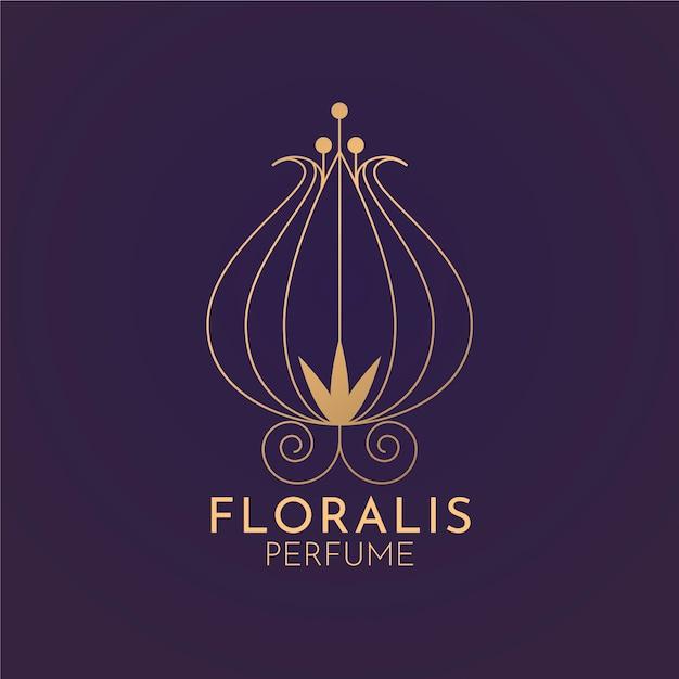 Floral luxury perfume logo Free Vector