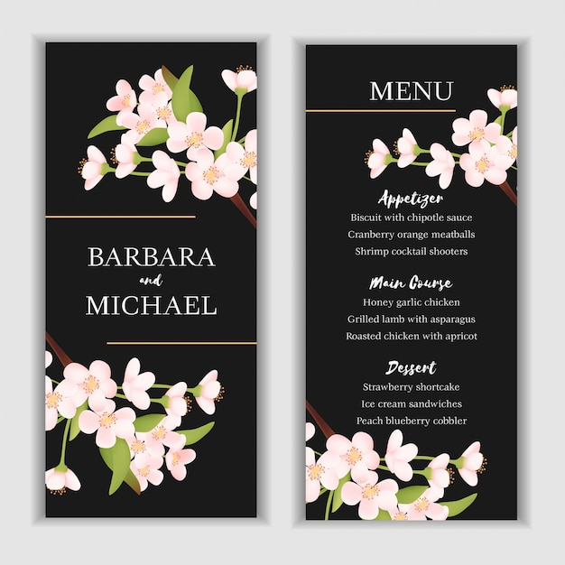 Floral menu card template with cherry blossom decoration Premium Vector