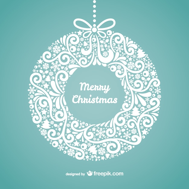 Floral Merry Christmas Card Free Vector