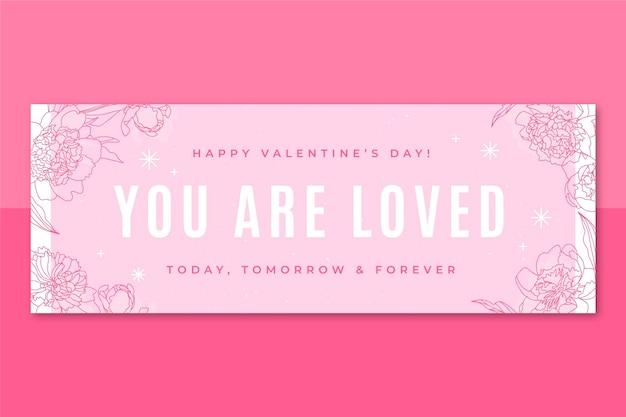 花の単色バレンタインデーのfacebookカバー 無料ベクター