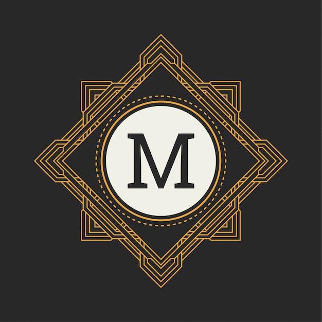 Floral monogram. classic ornament for m logo Premium Vector