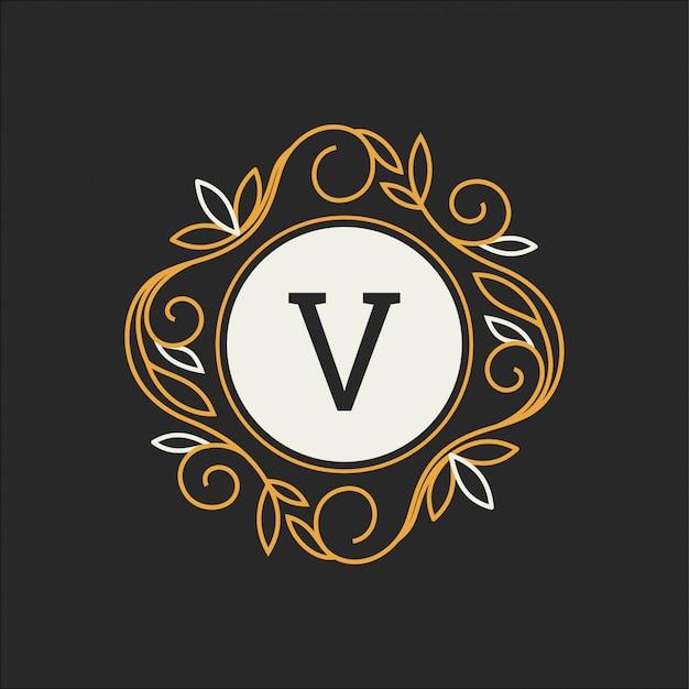 Floral monogram, classic ornament Premium Vector