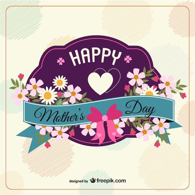 Floral mother's day background with daisies Free Vector