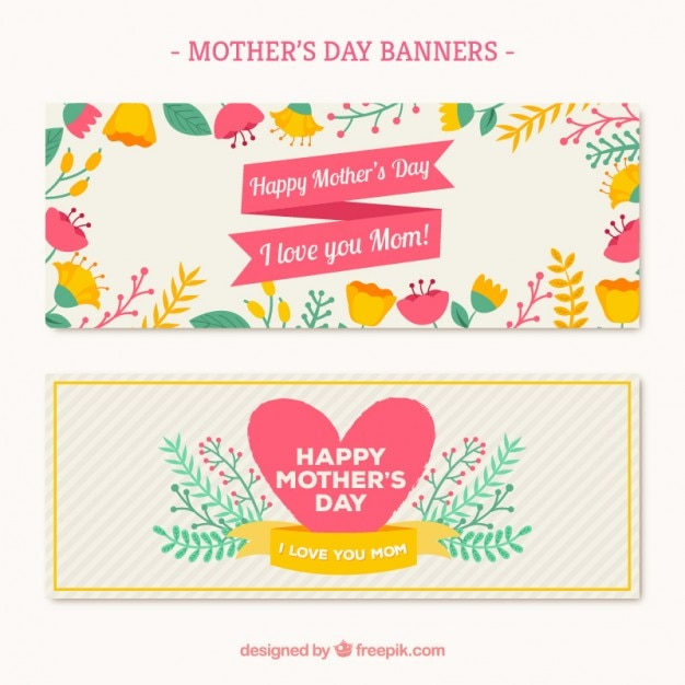 Floral mother\'s day banners