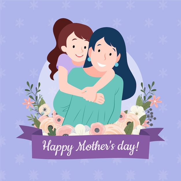 Floral mother;s day illustration with mom and daughter Premium Vector