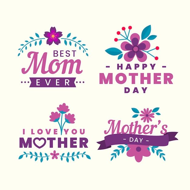 Floral mother's day labels collection Free Vector