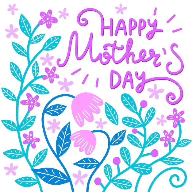 Floral mother's day lettering Free Vector